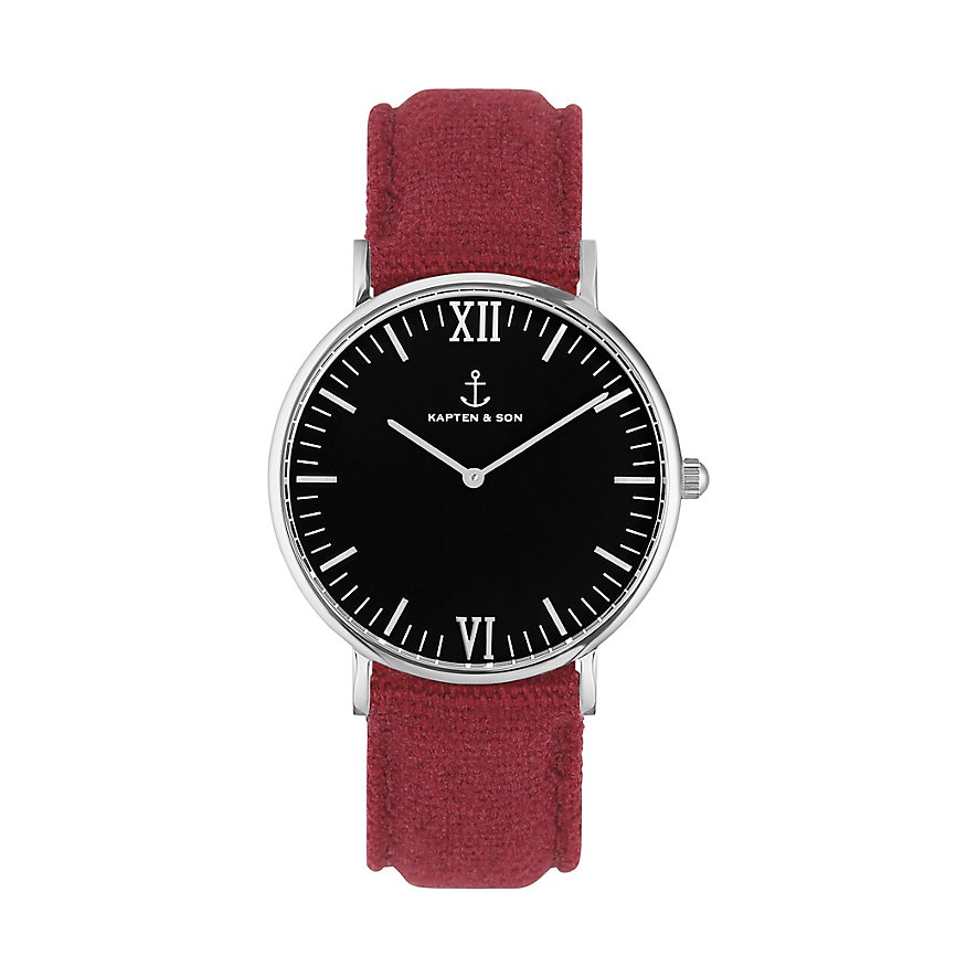Kapten & Son Uhr Campus Black Silver Bordeaux Canvas CB03B0607F11A