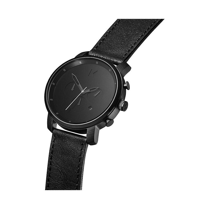 MVMT Herrenuhr Chrono Black Leather MC01BL