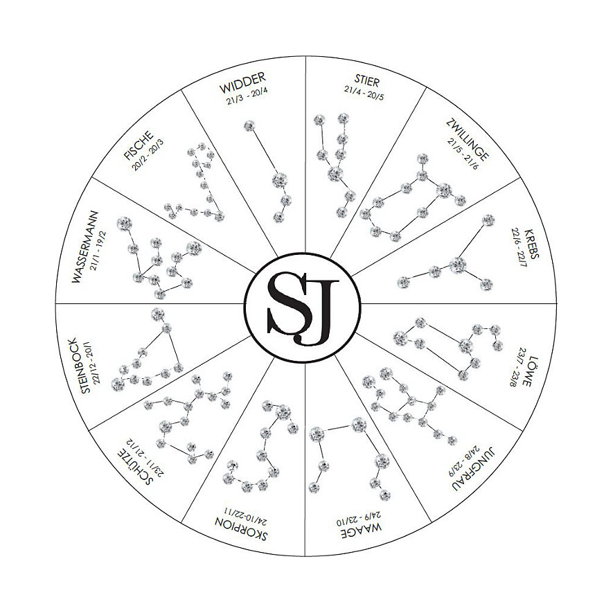 Sif Jakobs Jewellery Kette Sternzeichen Fische SJ-P1065-CZ-YG-45