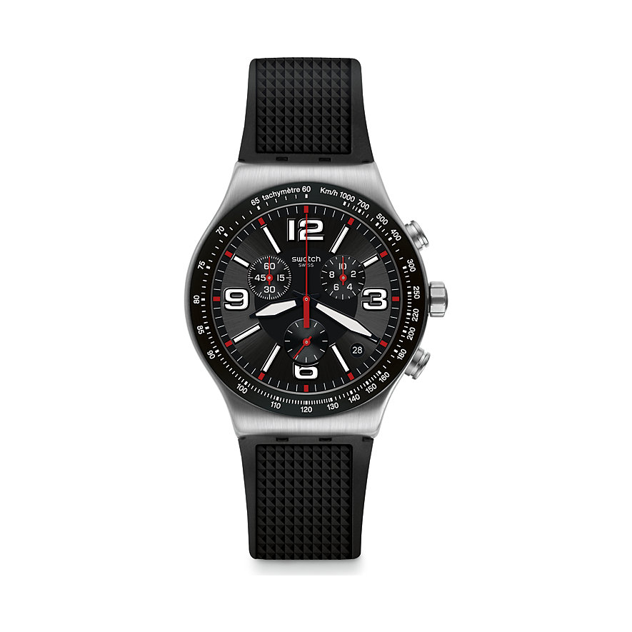 Swatch Herrenuhr Very Dark Grid YVS461