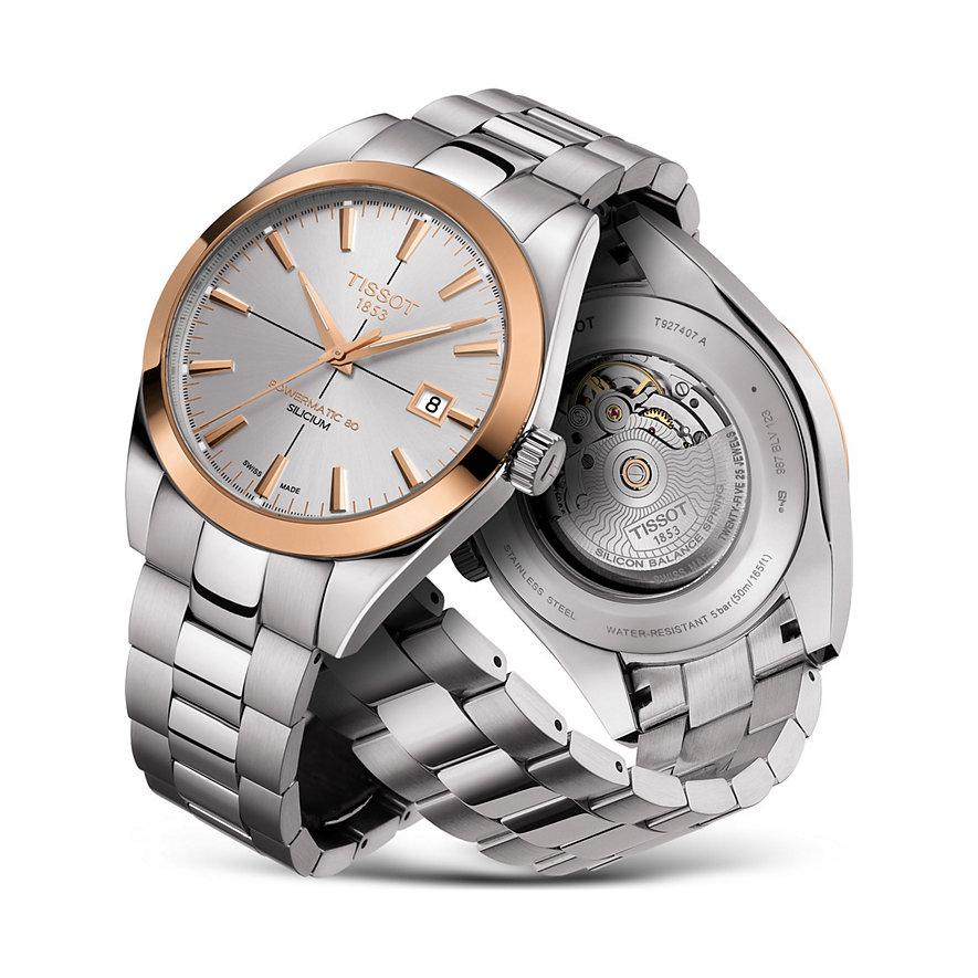 Tissot Herrenuhr Gentleman Powermatic 80 Silicium Solid 18K Gold bezel T9274074103100