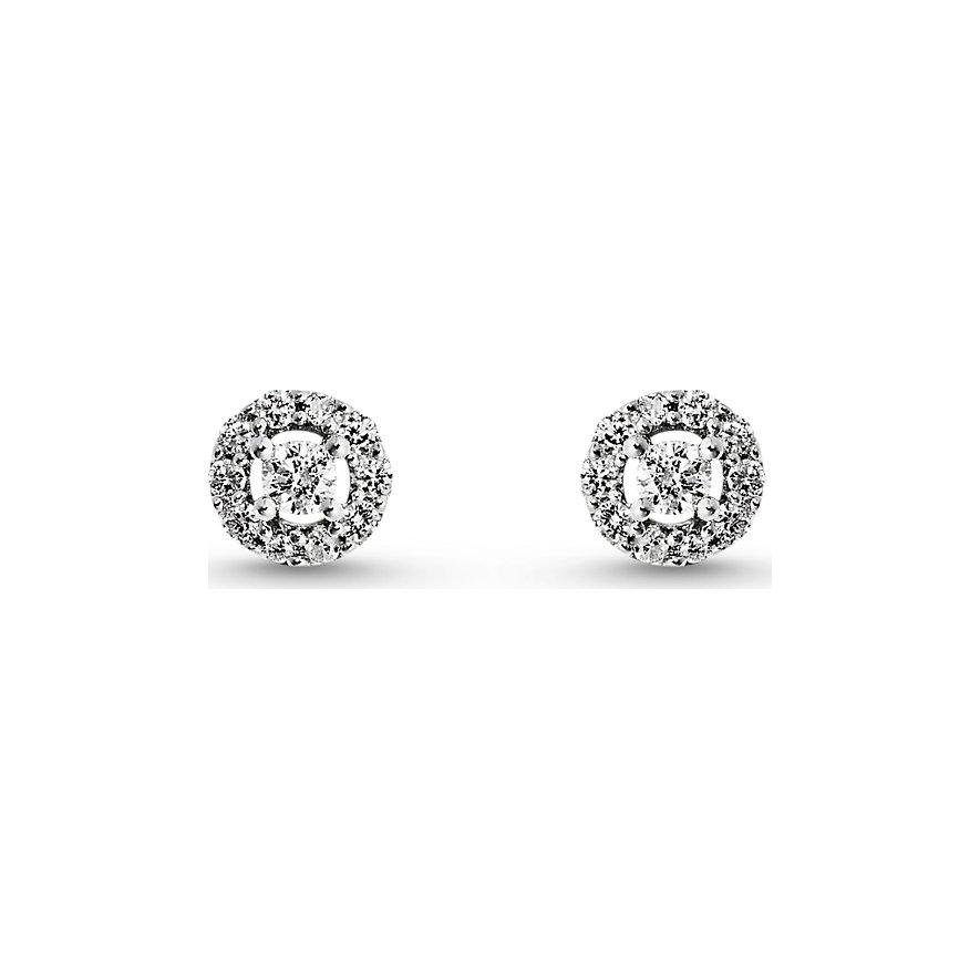 Artikel klicken und genauer betrachten! - Ohrstecker 375er Weißgold mit 22 Diamanten, Verschluss: Ohrstecker Länge ca. 0,11 cm, Breite ca. 0,05 cm   im Online Shop kaufen
