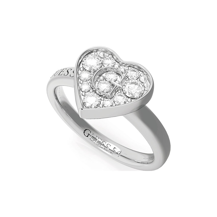 Guess Damenring Pave G Heart Crystals