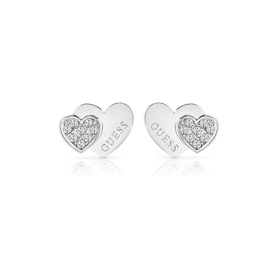 Guess Ohrstecker E-double Heart Studs