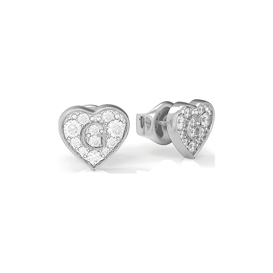 Guess Ohrstecker Pave G Heart Crystals