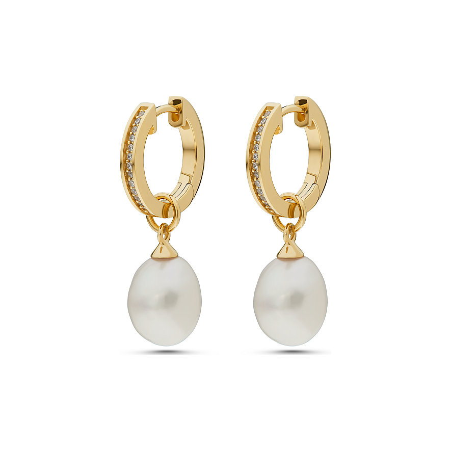 JETTE Silver Creole Pearl