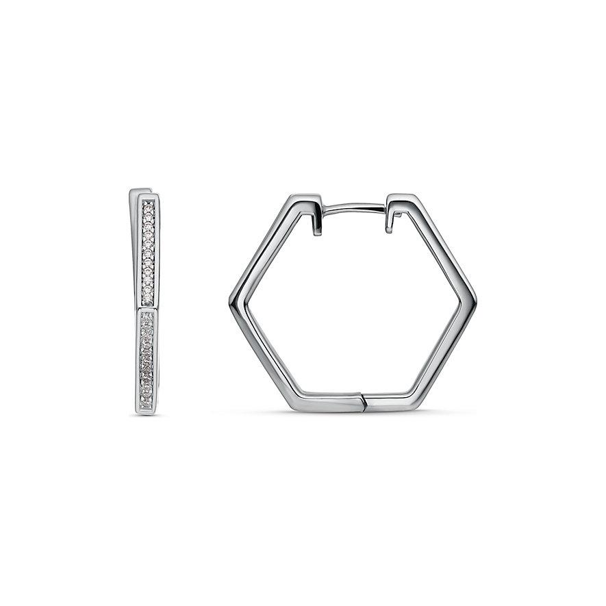 JETTE Silver Creolen Hexagon
