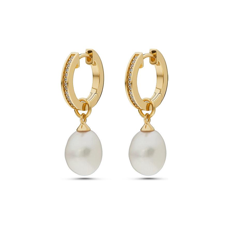 JETTE Silver Creolen Pearl