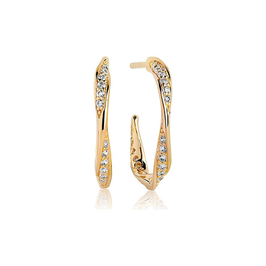 Sif Jakobs Jewellery Creole Cetara Piccolo SJ-E3010-CZ-YG