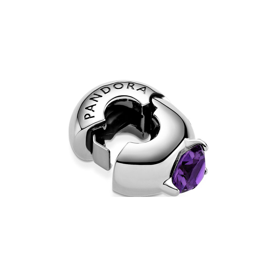 Pandora Charm Colours Lilafarbener Runder Solitär Clip 799204C02