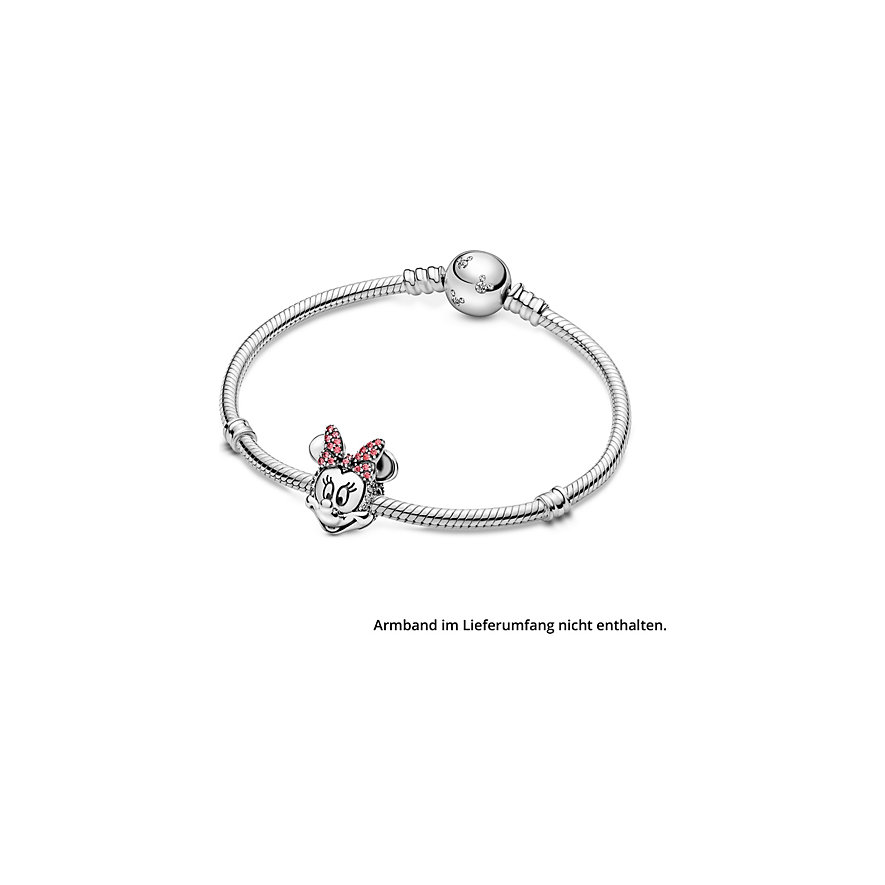 Pandora Charm Disney x Pandora Minnie Maus mit rosafarbener Pavé-Schleife Clip 797496CZS