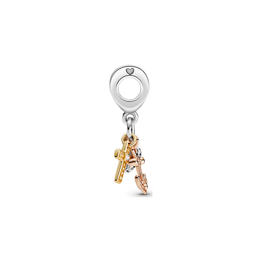 Pandora Charm Passions Dreifarbiger Kreuz, Herz & Anker 799354C01