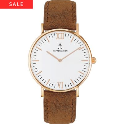 Kapten & Son Uhr Campina/Campus White RG Brown Vintage