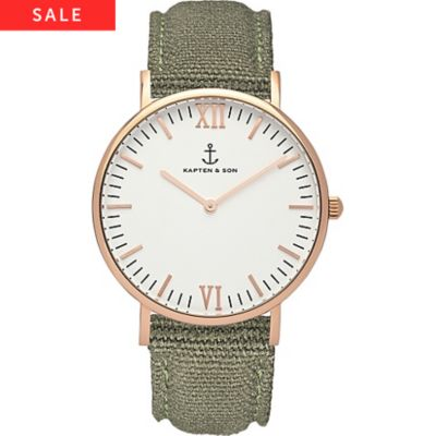 Kapten & Son Uhr Campina/Campus White RG Olive Canvas