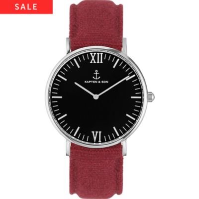 Kapten & Son Uhr Campina/Campus Black Silver Bordeaux Canvas
