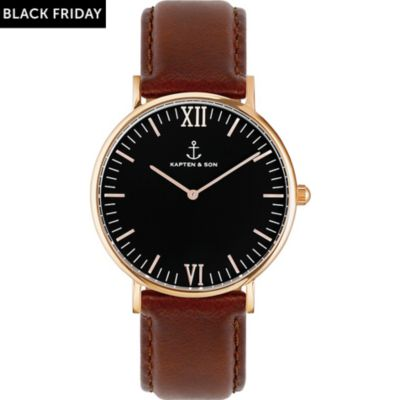 Kapten & Son Uhr Campina/Campus Black RG Brown Leather