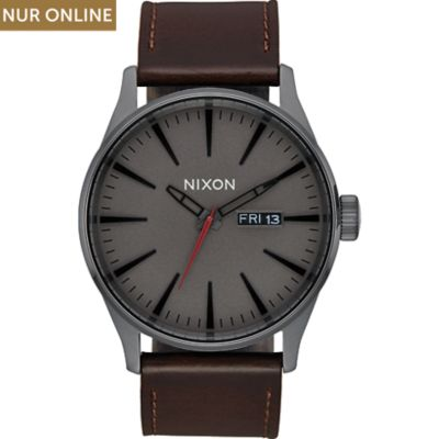 Nixon Unisexuhr Sentry Leather Gunmetal
