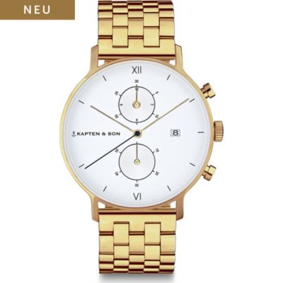 Kapten & Son Unisexuhr Chrono Gold Steel CD09A0840F12A