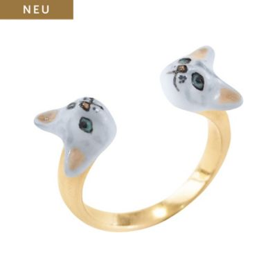 Nach Bijoux Damenring Grey Cat Face To Face BB38