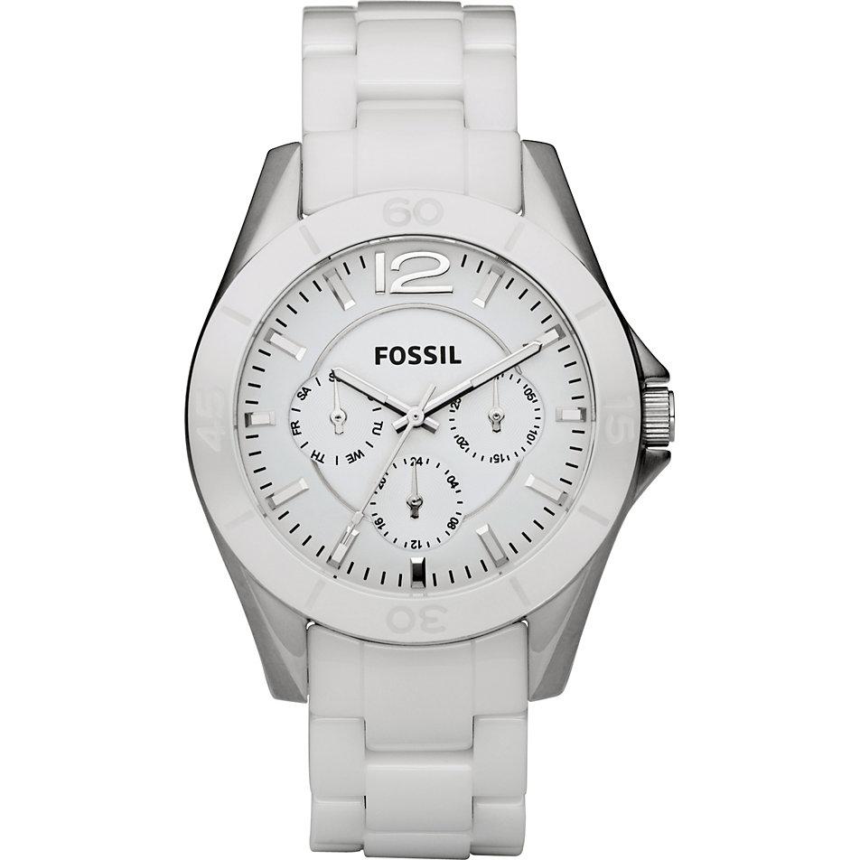 fossil damenuhr weiß