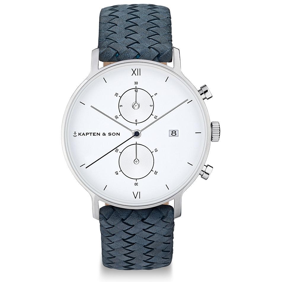 kapten-son-herrenuhr-chrono-silver-light-blue-woven-leather-cd03a1008f01a, 249.00 EUR @ christ-de