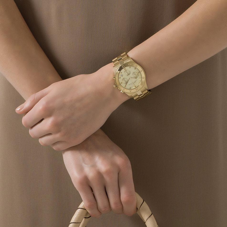 Marc jacobs damen armbanduhr chronograph quarz edelstahl mbm3101